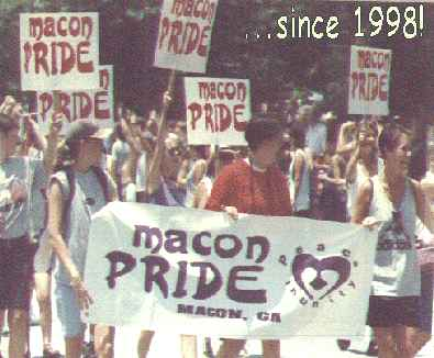 Macon Pride volunteers in 1998 Atlanta Pride Parade!